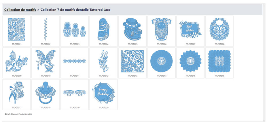 collection 7 de motifs Tattered Lace