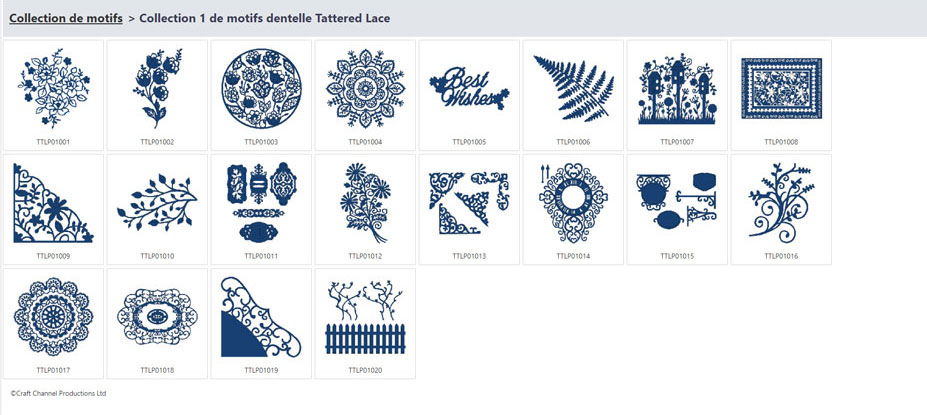 Collection 1 de motifs dentelle Tattered Lace